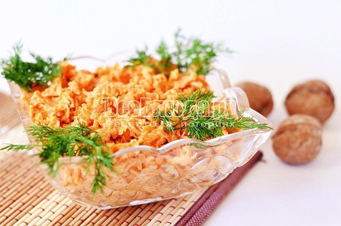 Салат из моркови и грецких орехов