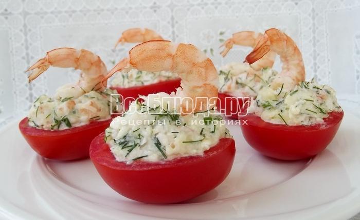 Закуска Лебеди - из креветок в помидорах - праздничный рецепт