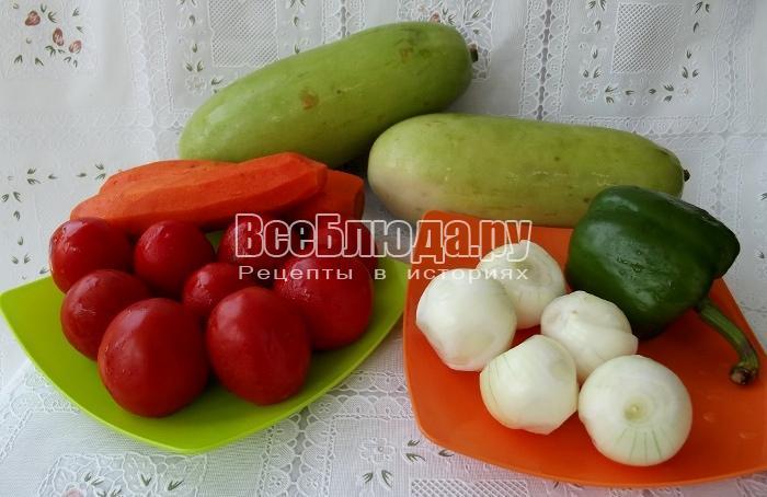 ингредиенты для приготовления икры из кабачков