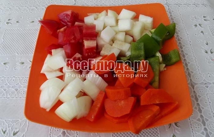 порезать овощи кусочками