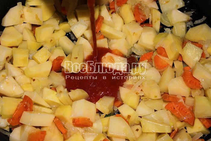 Добавили картофель и томатный сок
