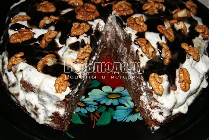 Рецепт торта Пинчер с грецкими орехами