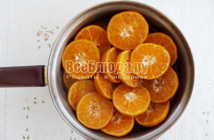 залить мандарины сиропом