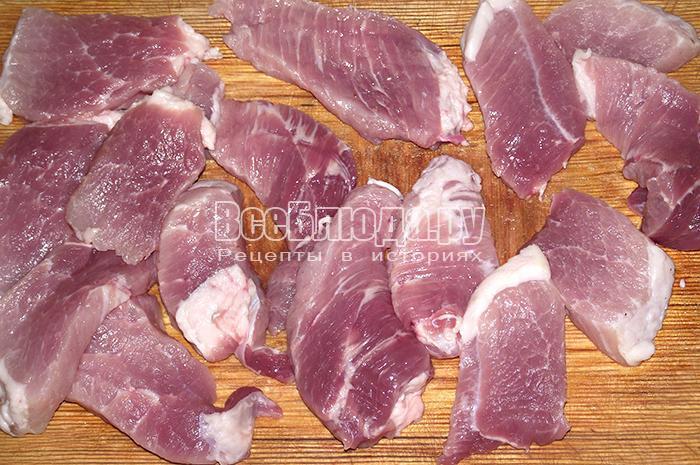 нарежьте мясо небольшими кусочками