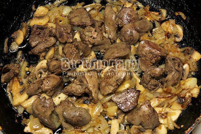 Куриная печень с грибами в сметане рецепт пошагово