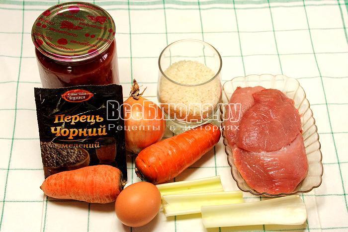 ингредиенты для приготовления мясных фрикаделек