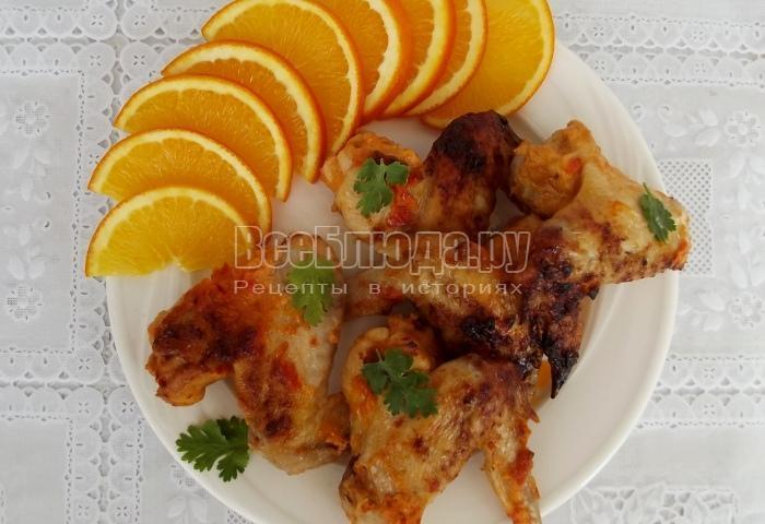 Куриные крылышки с апельсиновым соком в духовке - рецепт запекания в форме