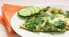 Омлет с зеленью (со свежей крапивой и зеленым луком) на сале