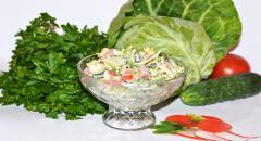 Легкий салат из свежих овощей, Весенний
