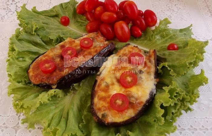 Баклажаны фаршированные овощами под сырной корочкой - рецепт для духовки