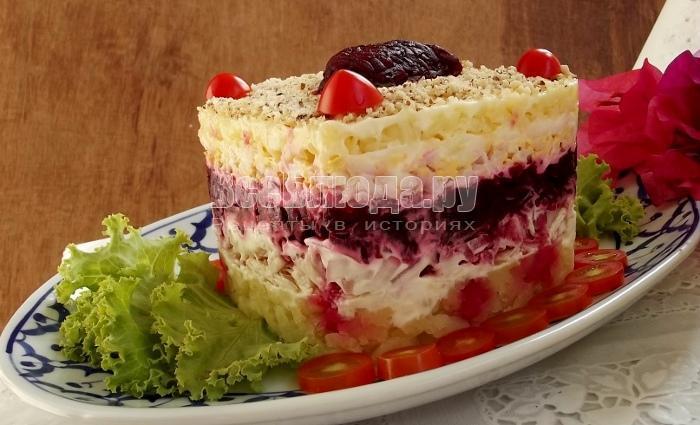 салат неженка слоями со свеклой рецепт