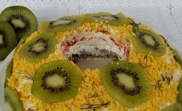 рецепт салата Малахитовый браслет с киви