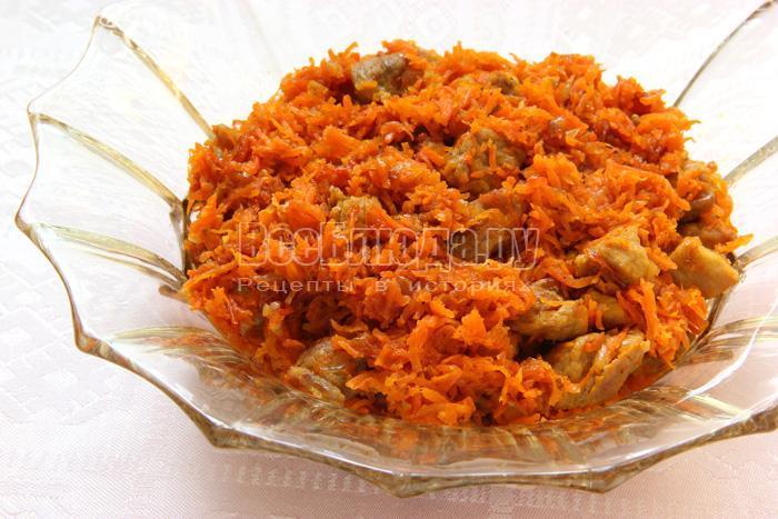 готовое блюдо из свинины с морковкой