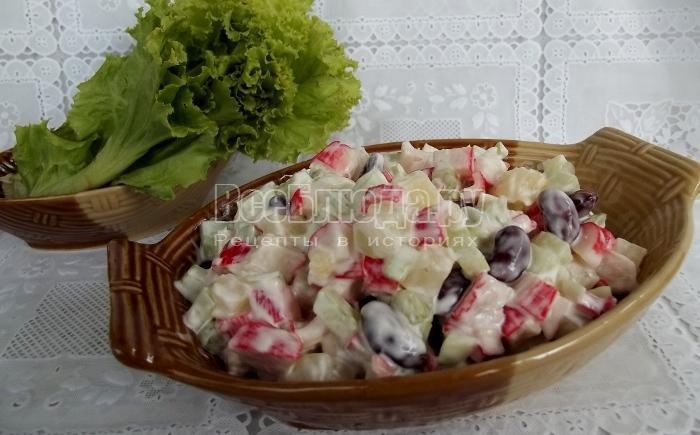 рецепт огуречного салата с ананасом