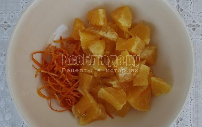 порезать апельсин и счистить цедру