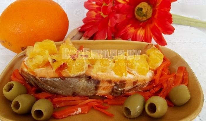 Семга с апельсинами на морковной подушке - пошаговый рецепт в духовке