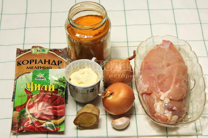 ингредиенты для блюда из курицы в сметане