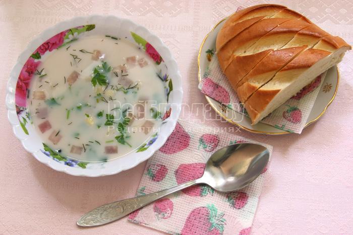 готовый молочный ячневый суп