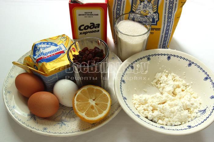 Набор продуктов для кекса с творогом