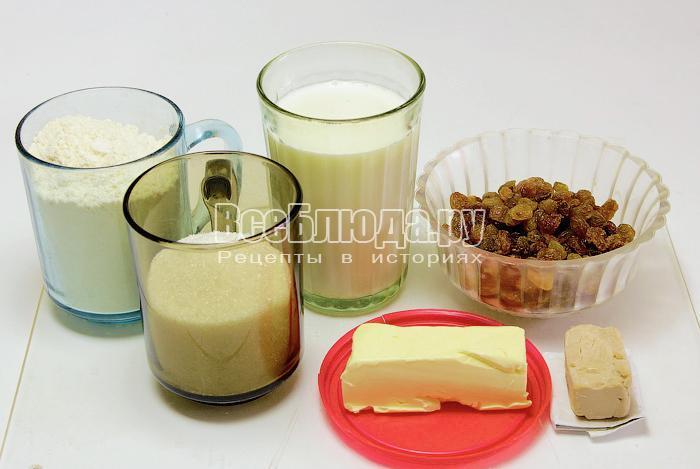 ингредиенты для булочек с изюмом