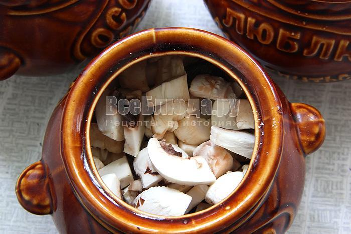 Индюшатина в горшочках с перловкой и грибами