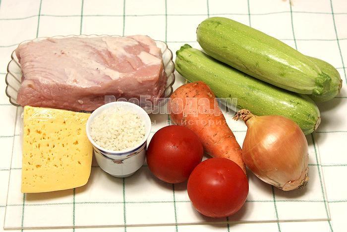 ингредиенты для кабачковых лодочек