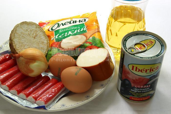 продукты для приготовления крабового салата
