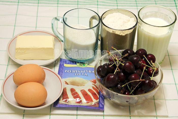 ингредиенты для пирога с черешней
