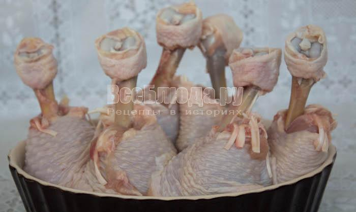 Куриные голени в духовке с картошкой (куриные чупа-чупсы)
