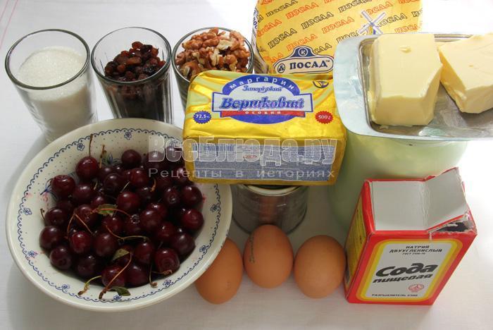 продукты для приготовления торта с вишней