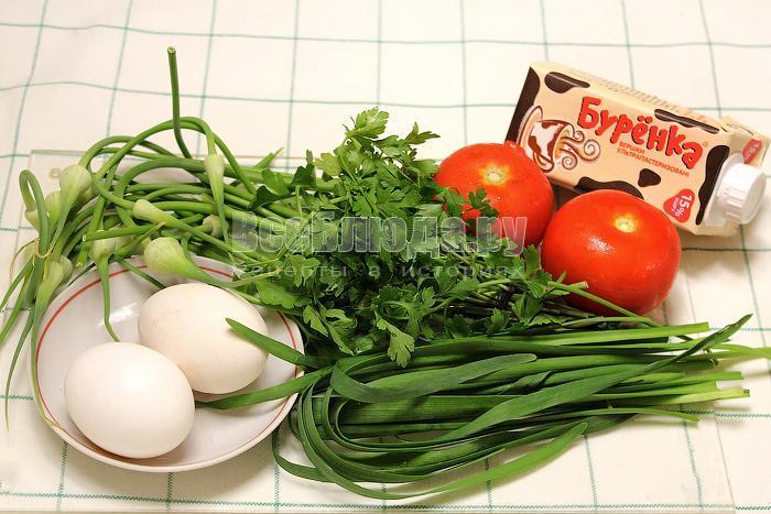 ингредиенты для омлета с чесночными стрелками