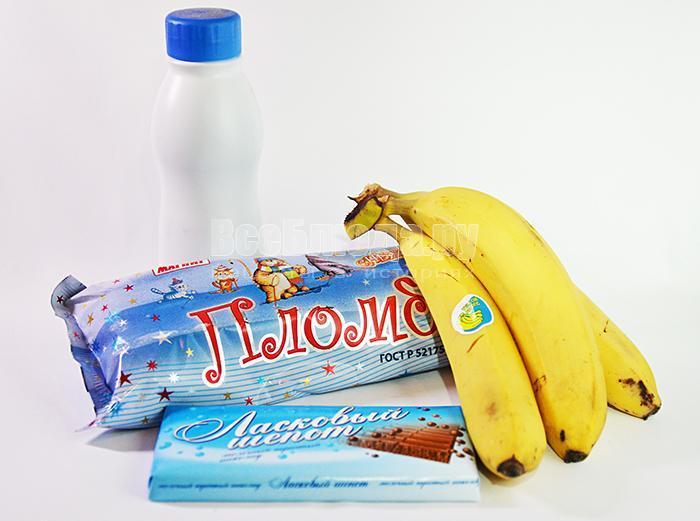 необходимые ингредиенты для коктейля с бананами: