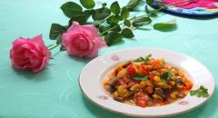 Рецепт овощного соте с грибами