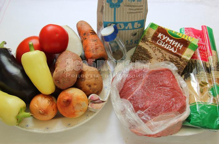 продукты для приготовления лагмана дома