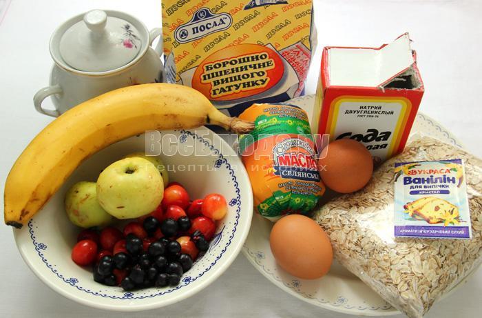 ингредиенты для приготовления печенья мюсли