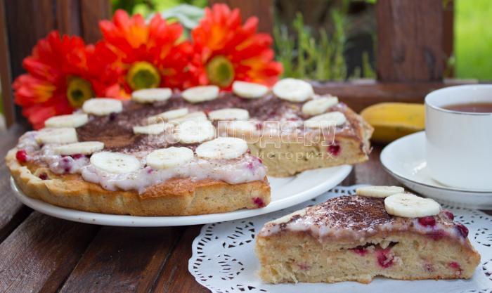 рецепт пирога с бананами и фото