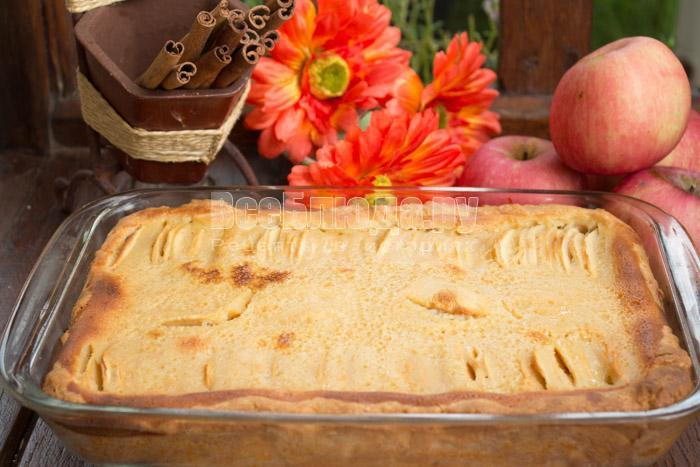 готовый яблочный цветаевский пирог в духовке