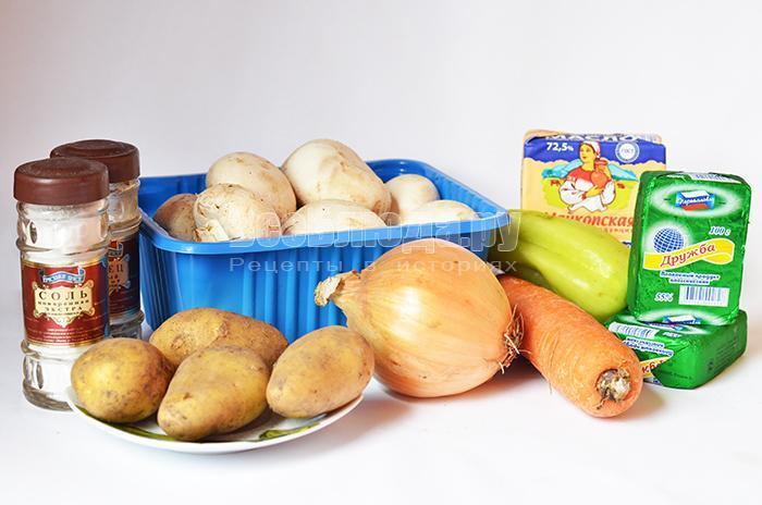 необходимые ингредиенты для супа с грибами и сыром: