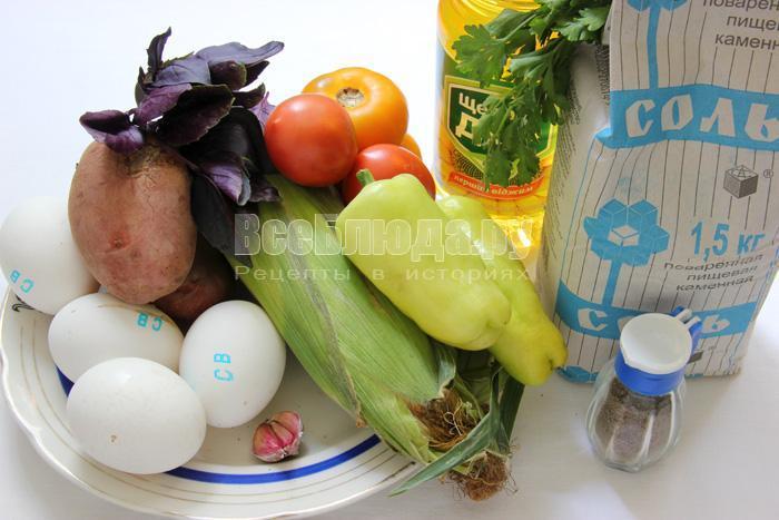 продукты для приготовления испанской тортильи