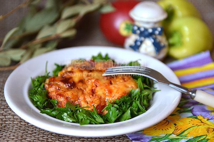 рецепт мяса с тертыми помидорами и сыром