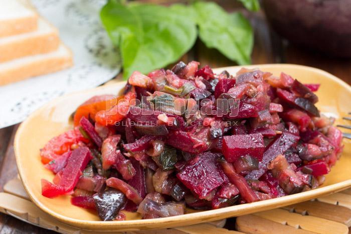 как приготовить салат со свеклой, помидорами и баклажанами
