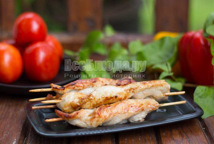 рецепт куриного филе на шпажках в соевом соусе