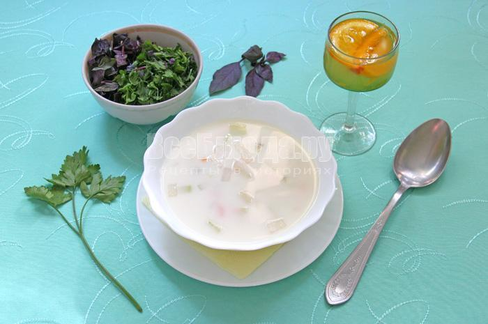 рецепт белого сырного супа
