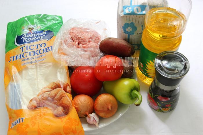 продукты для приготовления пирога с фаршем