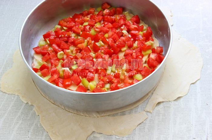 Рецепт пирога с мясным фаршем и овощами