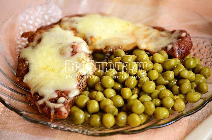 мясо с горчицей и сыром