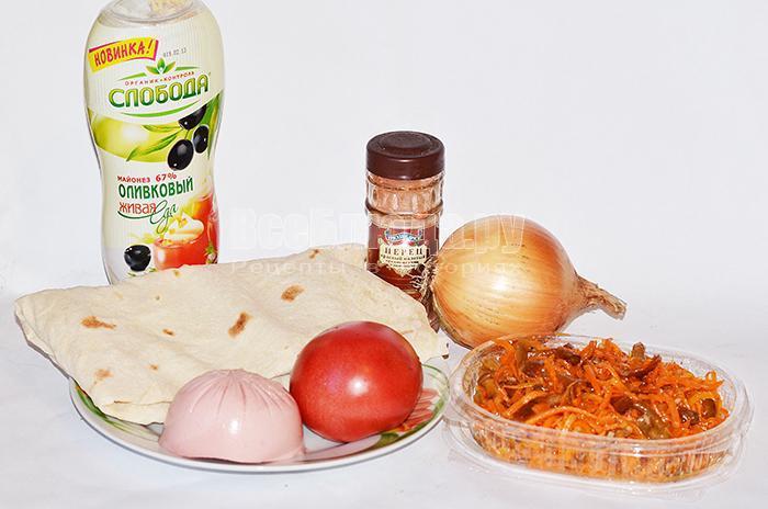 необходимые ингредиенты для закуски из лаваша: