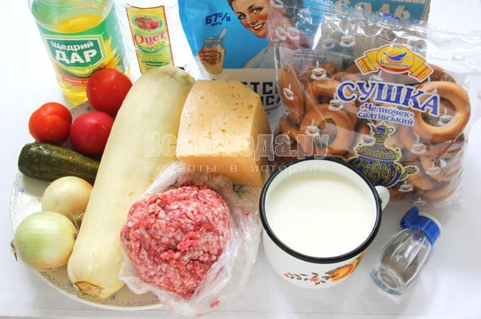 ингредиенты для приготовления сушек с фаршем