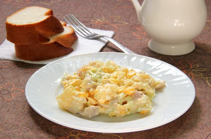 рецепт салат яйца мясо сыр