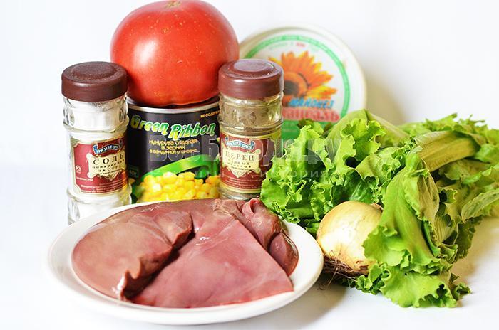необходимые ингредиенты для салата из печени:
